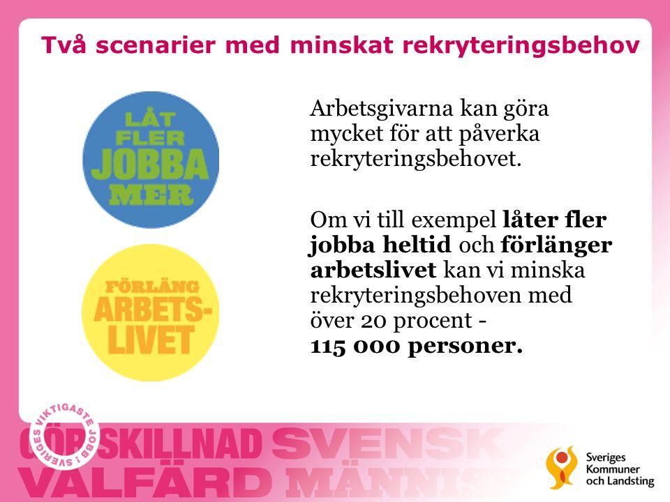 Låt fler jobba mer Genom att erbjuda heltidsanställningar till dem som vill arbeta mer och uppmuntra dem som frivilligt arbetar deltid att öka sin arbetstid, kan vi minska rekryteringsbehovet.