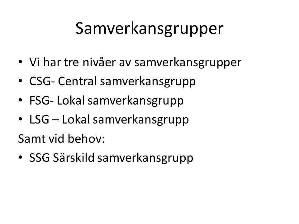 Samverkansgrupper Vi har tre nivåer av samverkansgrupper CSG- Central samverkansgrupp FSG- Lokal samverkansgrupp LSG – Lokal samverkansgrupp Samt vid behov: SSG Särskild samverkansgrupp