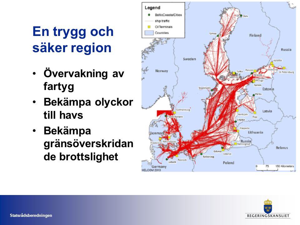 Statsrådsberedningen En trygg och säker region Övervakning av fartyg Bekämpa olyckor till havs Bekämpa gränsöverskridan de brottslighet