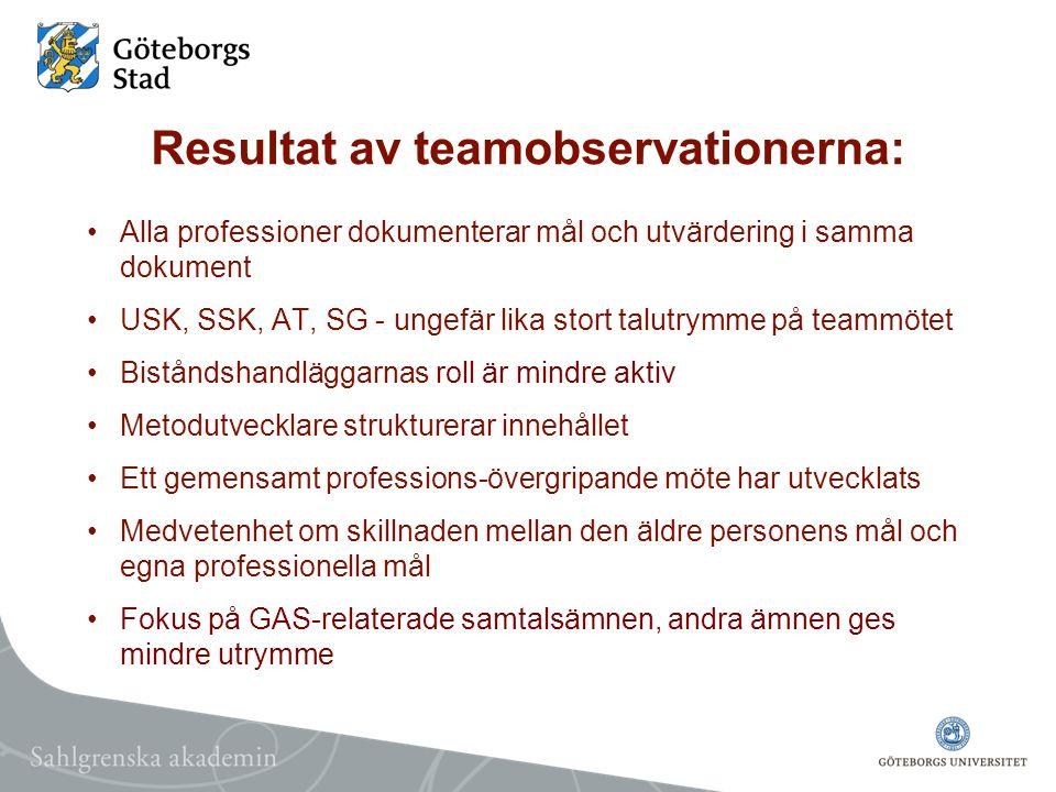 Resultat av teamobservationerna: Alla professioner dokumenterar mål och utvärdering i samma dokument USK, SSK, AT, SG - ungefär lika stort talutrymme