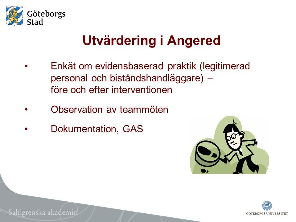 Utvärdering i Angered Enkät om evidensbaserad praktik (legitimerad personal och biståndshandläggare) – före och efter interventionen Observation av te