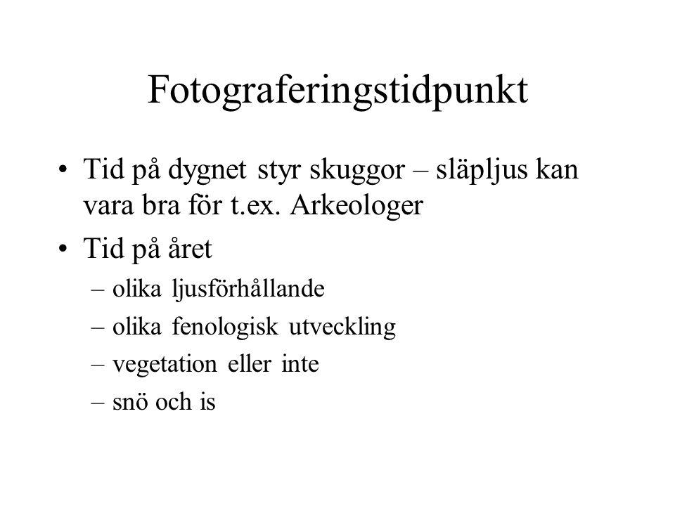 Fotograferingstidpunkt Tid på dygnet styr skuggor – släpljus kan vara bra för t.ex.