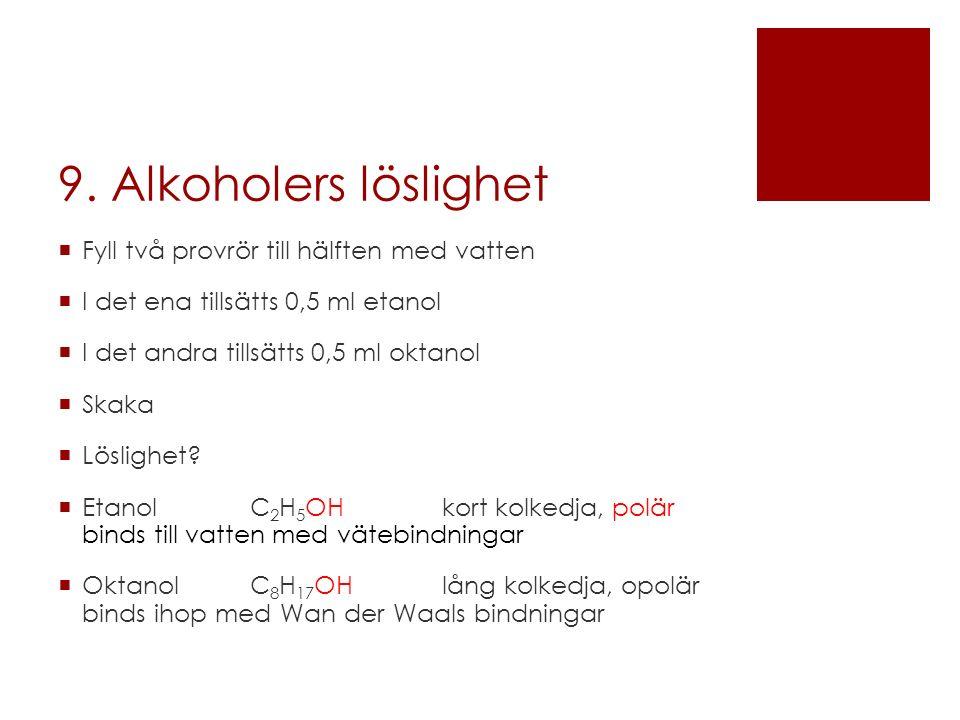 9. Alkoholers löslighet  Fyll två provrör till hälften med vatten  I det ena tillsätts 0,5 ml etanol  I det andra tillsätts 0,5 ml oktanol  Skaka