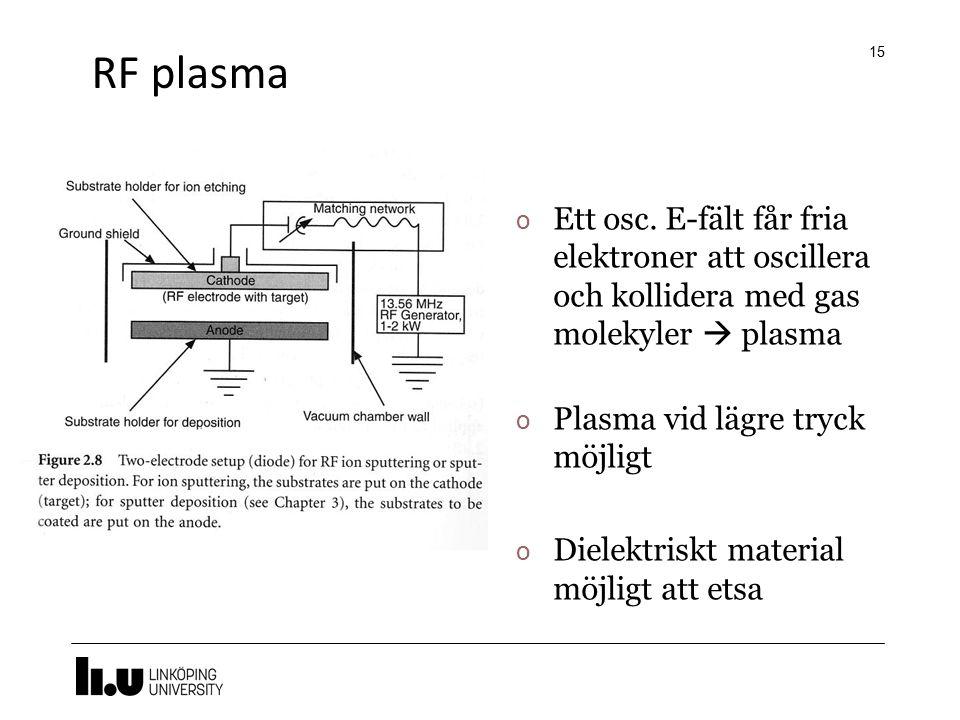 RF plasma 15 o Ett osc. E-fält får fria elektroner att oscillera och kollidera med gas molekyler  plasma o Plasma vid lägre tryck möjligt o Dielektri