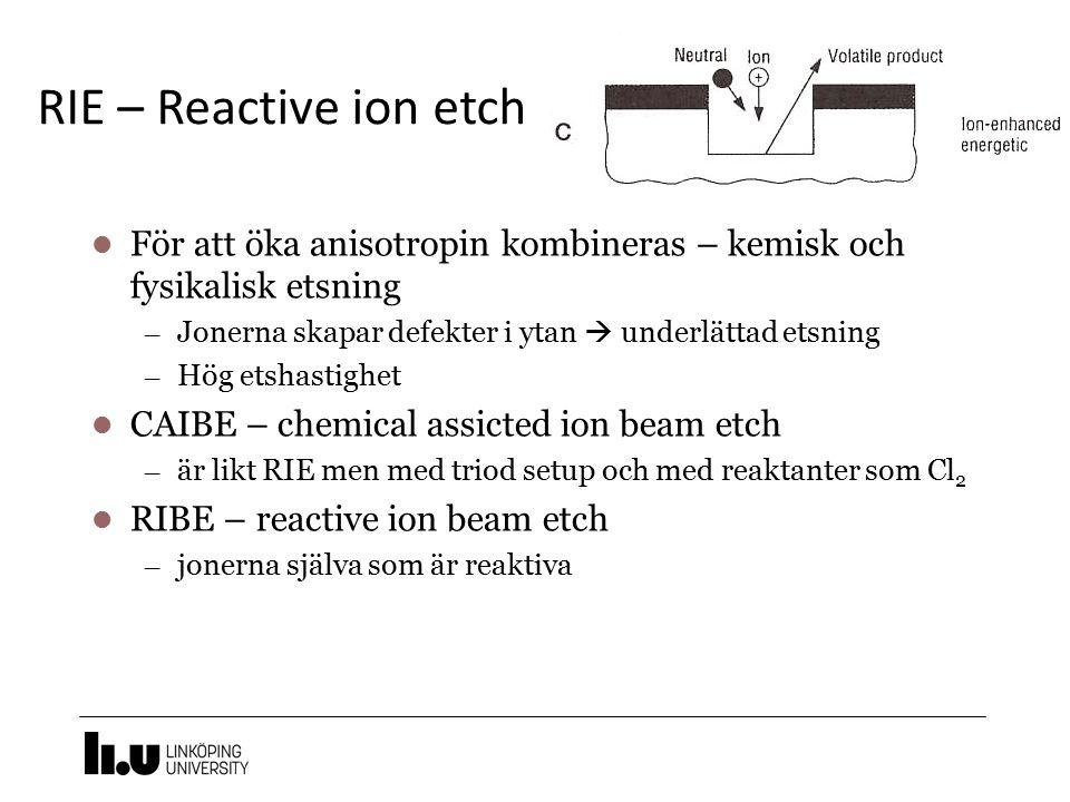 RIE – Reactive ion etch 19 För att öka anisotropin kombineras – kemisk och fysikalisk etsning – Jonerna skapar defekter i ytan  underlättad etsning –