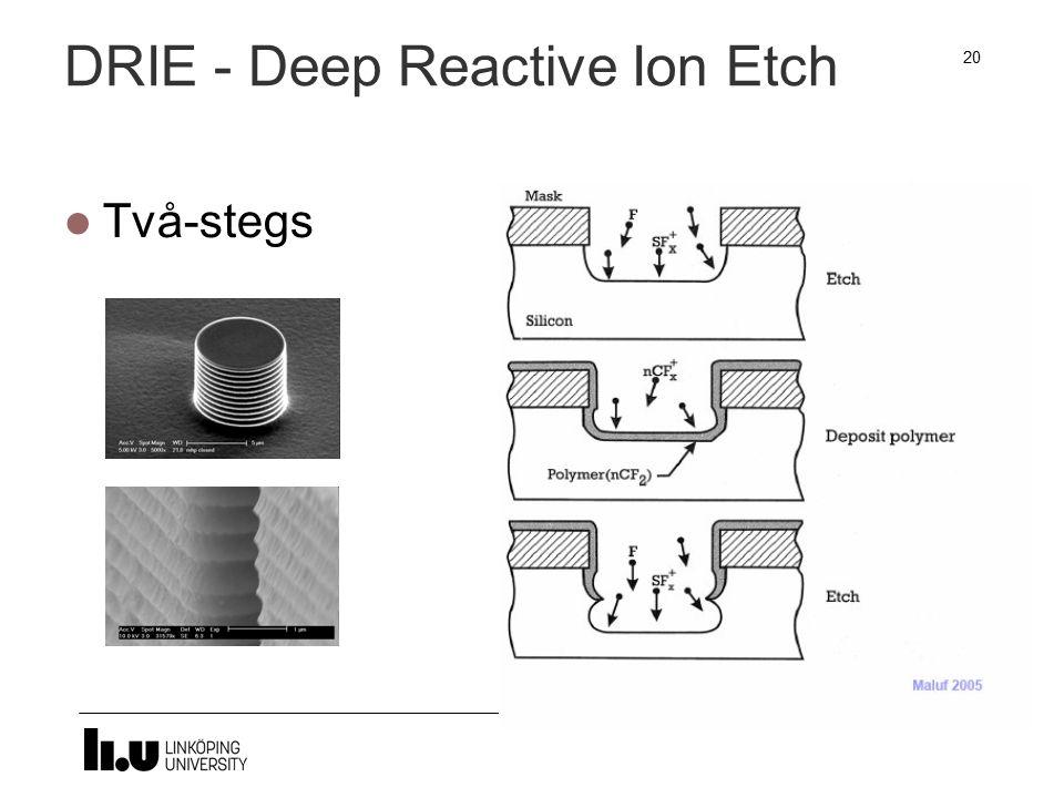 DRIE - Deep Reactive Ion Etch Två-stegs 20