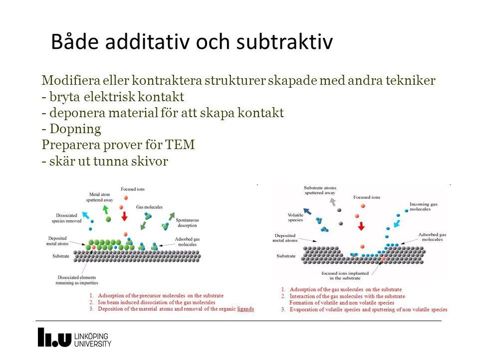 Både additativ och subtraktiv Modifiera eller kontraktera strukturer skapade med andra tekniker - bryta elektrisk kontakt - deponera material för att