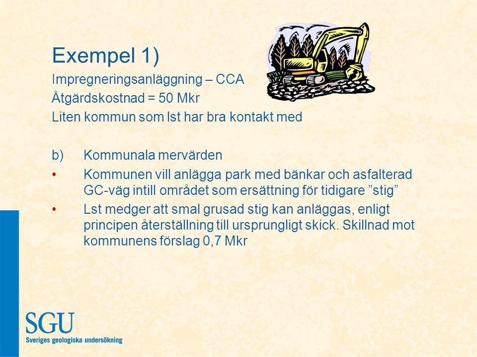 Exempel 1) Impregneringsanläggning – CCA Åtgärdskostnad = 50 Mkr Liten kommun som lst har bra kontakt med b)Kommunala mervärden Kommunen vill anlägga
