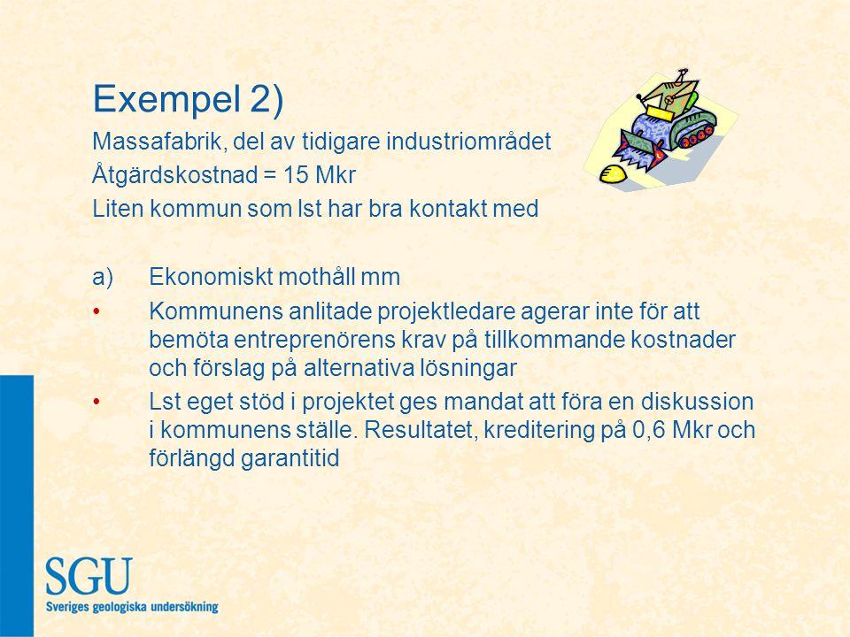 Exempel 2) Massafabrik, del av tidigare industriområdet Åtgärdskostnad = 15 Mkr Liten kommun som lst har bra kontakt med a)Ekonomiskt mothåll mm Kommu
