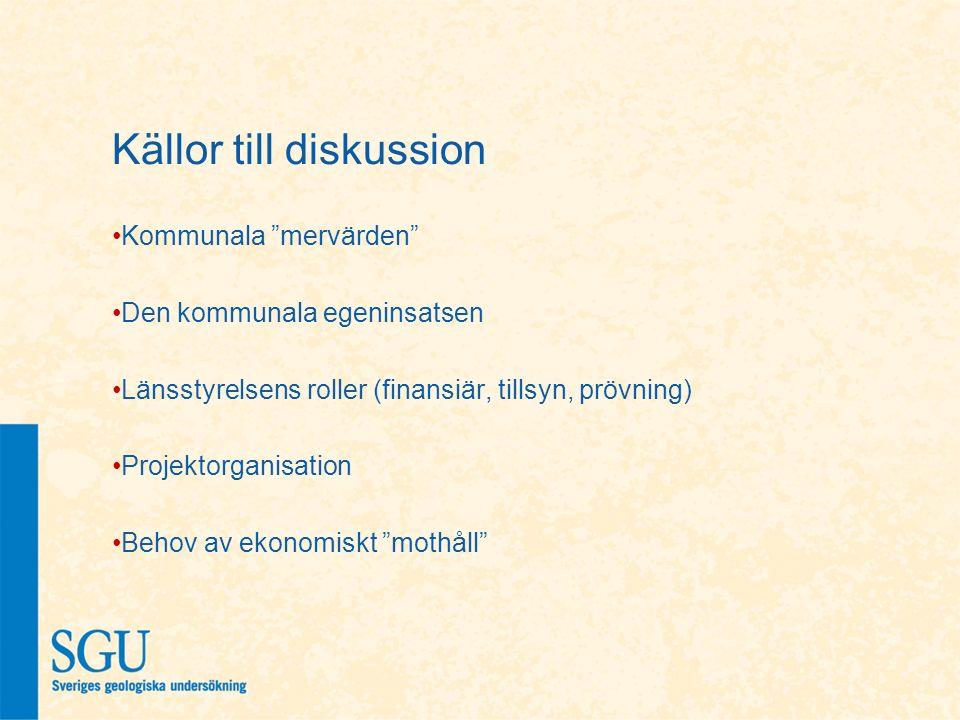 """Källor till diskussion Kommunala """"mervärden"""" Den kommunala egeninsatsen Länsstyrelsens roller (finansiär, tillsyn, prövning) Projektorganisation Behov"""