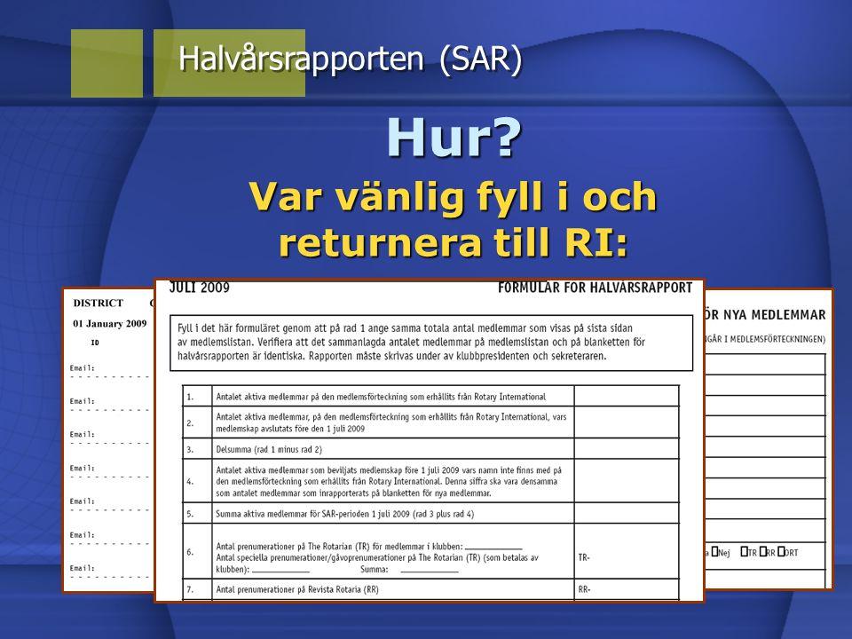 Hur? Var vänlig fyll i och returnera till RI: Halvårsrapporten (SAR)