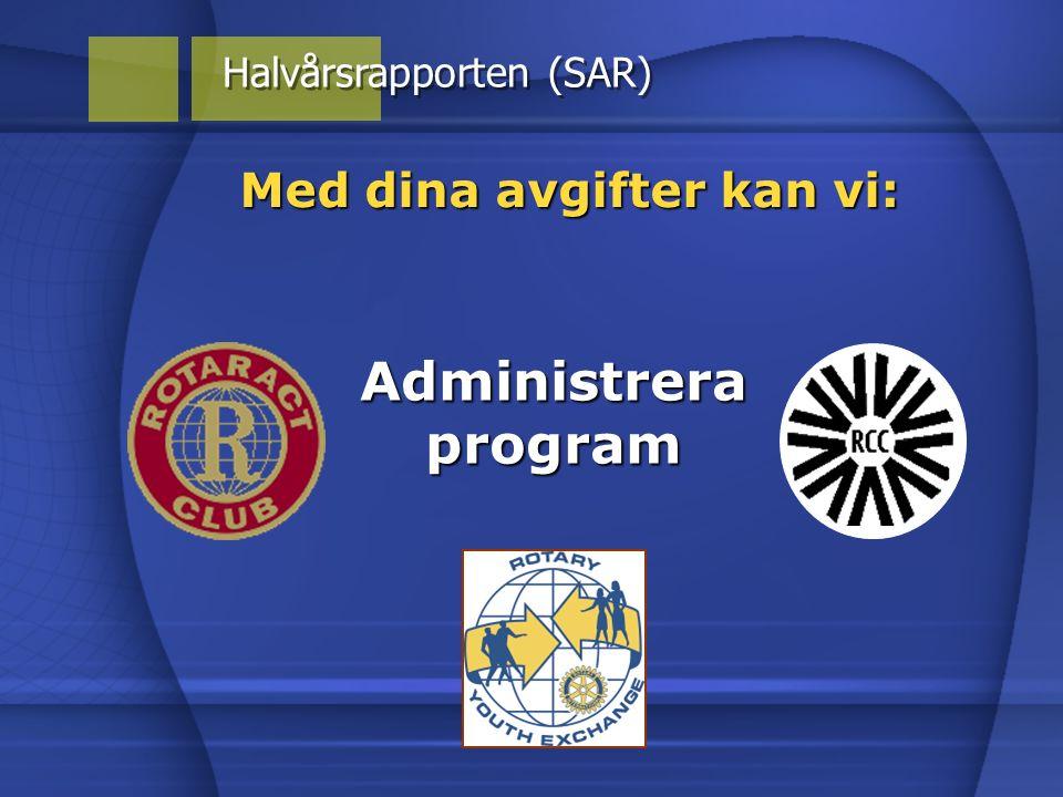 Med dina avgifter kan vi: Halvårsrapporten (SAR) Administrera program