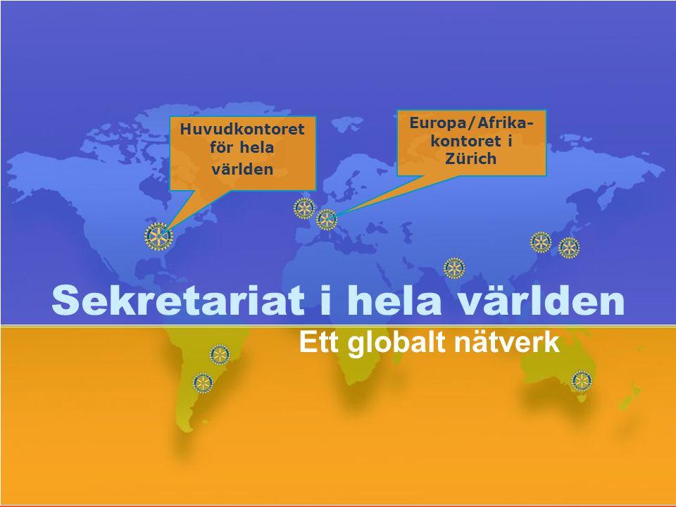Sekretariat i hela världen Ett globalt nätverk Europa/Afrika- kontoret i Zürich Huvudkontoret för hela världen