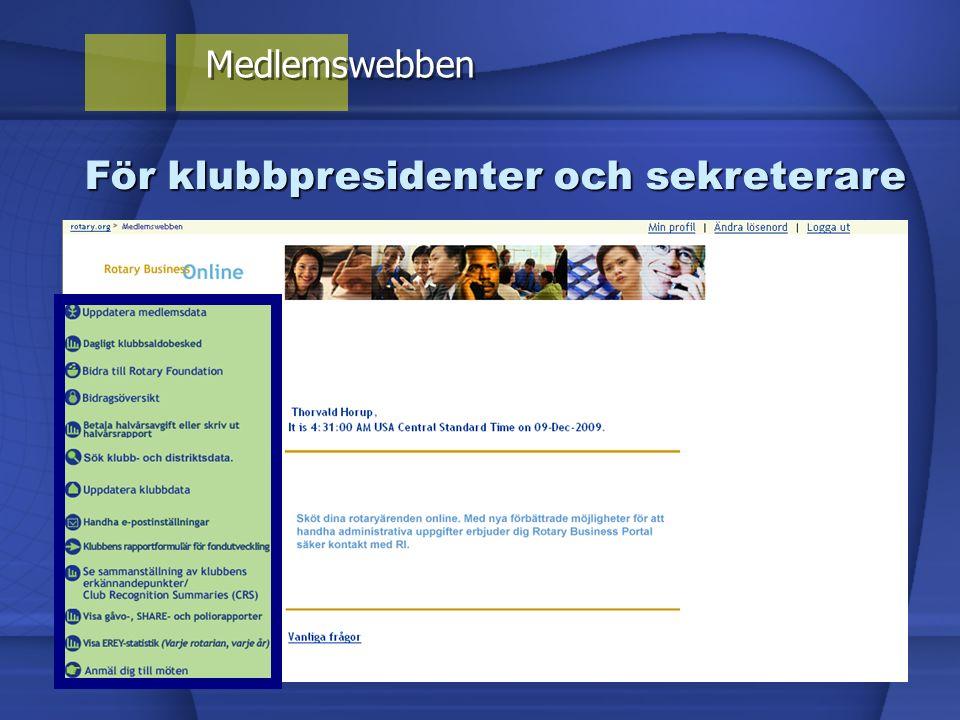 Medlemswebben För klubbpresidenter och sekreterare