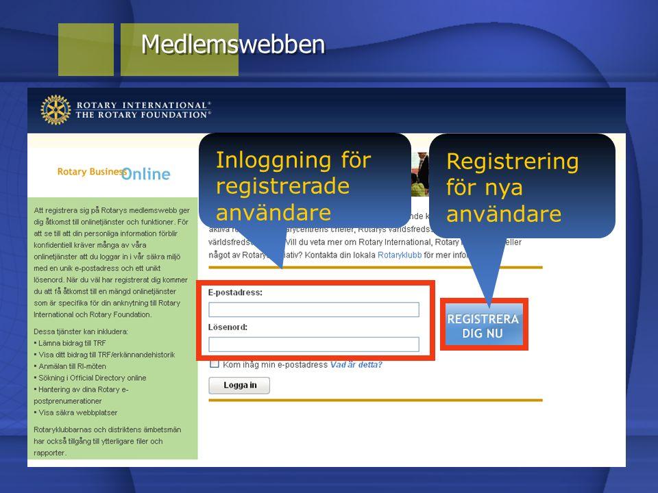 Medlemswebben Inloggning för registrerade användare Registrering för nya användare