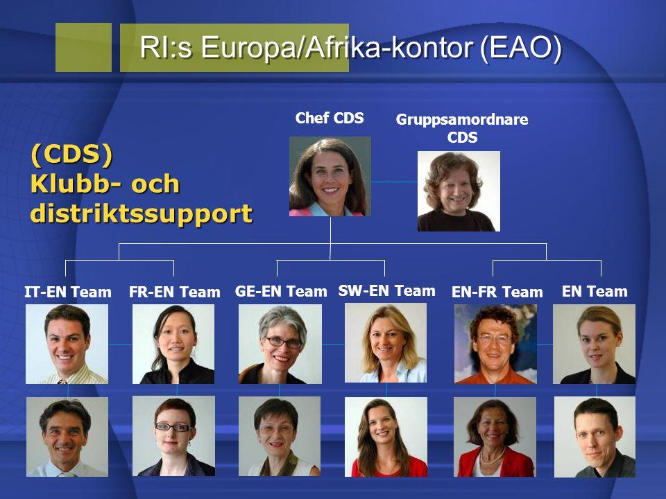 RI:s Europa/Afrika-kontor (EAO) (CDS) Klubb- och distriktssupport SW-EN Team FR-EN Team GE-EN Team EN-FR Team IT-EN Team EN Team Chef CDS Gruppsamordnare CDS