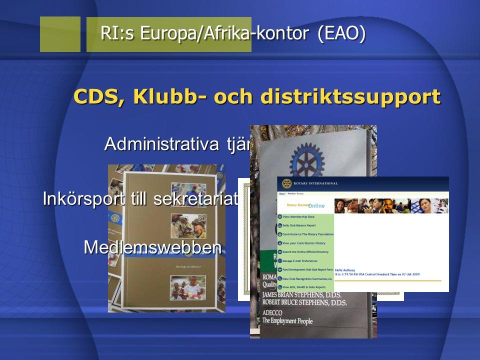 Policy frågor Medlemswebben CDS, Klubb- och distriktssupport RI:s Europa/Afrika-kontor (EAO) Administrativa tjänster Inkörsport till sekretariatet