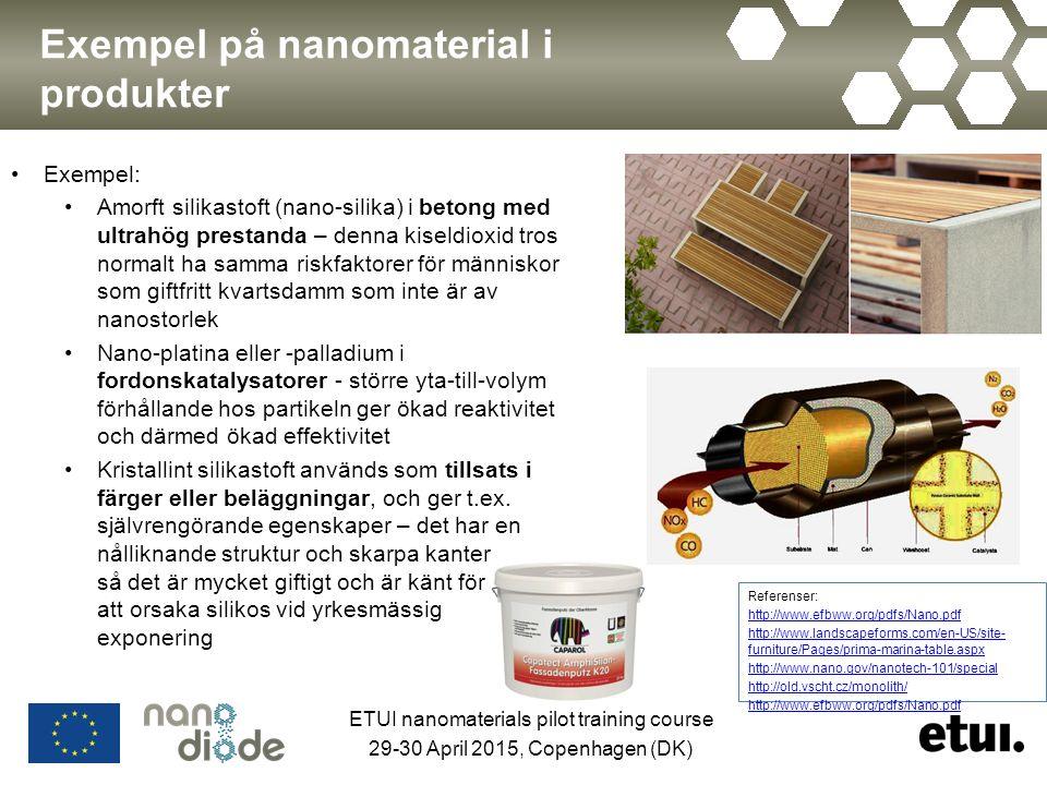 Exempel på nanomaterial i produkter Exempel: Amorft silikastoft (nano-silika) i betong med ultrahög prestanda – denna kiseldioxid tros normalt ha samma riskfaktorer för människor som giftfritt kvartsdamm som inte är av nanostorlek Nano-platina eller -palladium i fordonskatalysatorer - större yta-till-volym förhållande hos partikeln ger ökad reaktivitet och därmed ökad effektivitet Kristallint silikastoft används som tillsats i färger eller beläggningar, och ger t.ex.