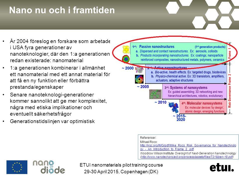 Nano nu och i framtiden År 2004 föreslog en forskare som arbetade i USA fyra generationer av nanoteknologier, där den 1:a generationen redan existerade: nanomaterial 1:a generationen kombinerar i allmänhet ett nanomaterial med ett annat material för att få en ny funktion eller förbättra prestanda/egenskaper Senare nanoteknologi-generationer kommer sannolikt att ge mer komplexitet, några med etiska implikationer och eventuellt säkerhetsfrågor Generationstidslinjen var optimistisk Referenser: Mihael Roco: http://irgc.org/IMG/pdf/Mike_Roco_Risk_Governance_for_Nanotechnolo gy_-_An_Introduction_to_Frame_2_.pdf http://irgc.org/IMG/pdf/Mike_Roco_Risk_Governance_for_Nanotechnolo gy_-_An_Introduction_to_Frame_2_.pdf Woodrow Wilson Institute Oversight of Next-Generation Nanotechnology (http://www.nanotechproject.org/process/assets/files/7316/pen-18.pdf)http://www.nanotechproject.org/process/assets/files/7316/pen-18.pdf ETUI nanomaterials pilot training course 29-30 April 2015, Copenhagen (DK)
