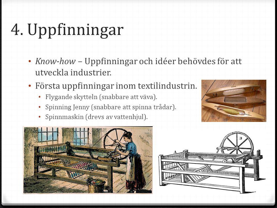 4. Uppfinningar Know-how – Uppfinningar och idéer behövdes för att utveckla industrier. Första uppfinningar inom textilindustrin. Flygande skytteln (s