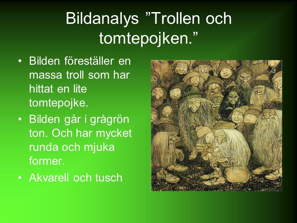Bildanalys Trollen och tomtepojken. Bilden föreställer en massa troll som har hittat en lite tomtepojke.