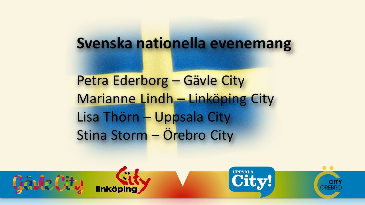 Svenska nationella evenemang Petra Ederborg – Gävle City Marianne Lindh – Linköping City Lisa Thörn – Uppsala City Stina Storm – Örebro City