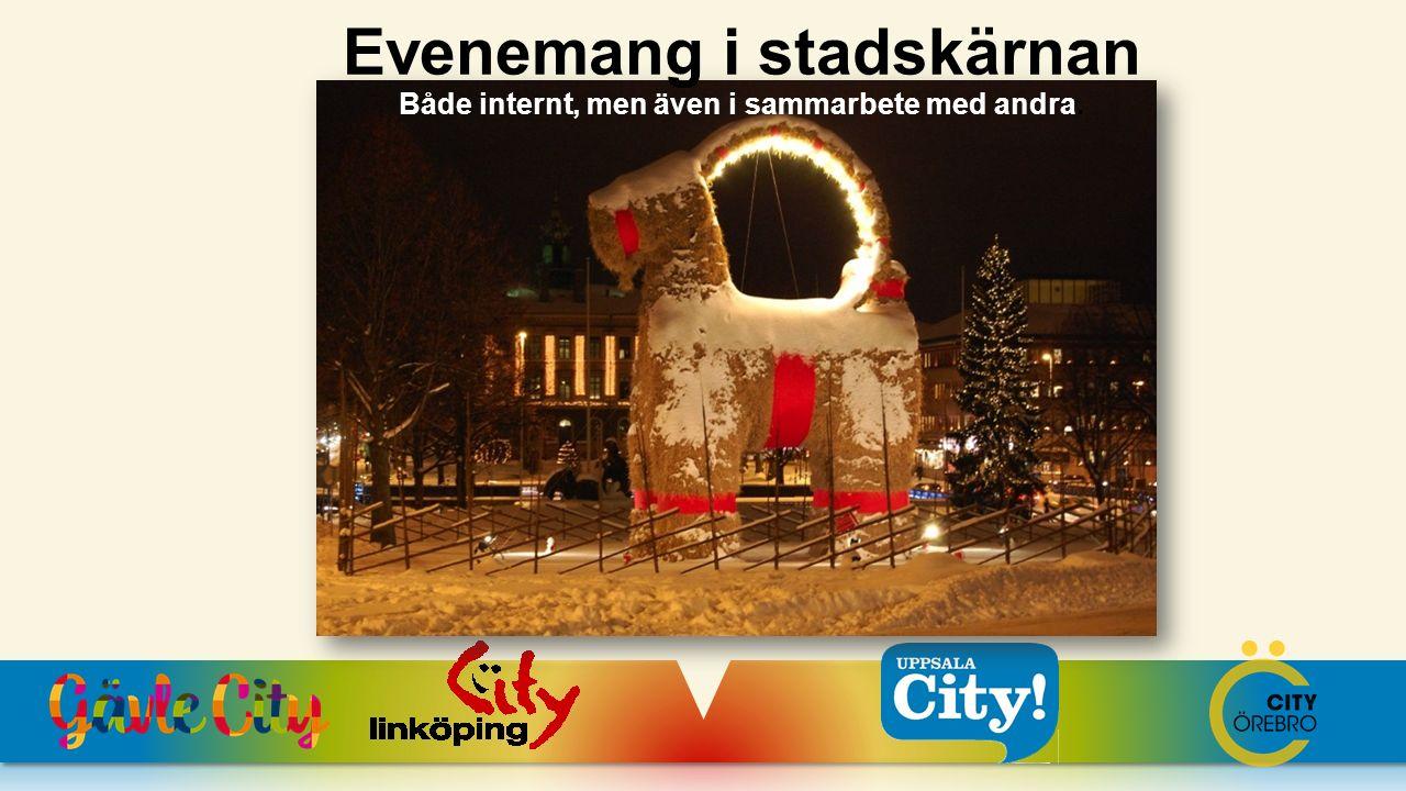 Evenemang i stadskärnan Både internt, men även i sammarbete med andra.
