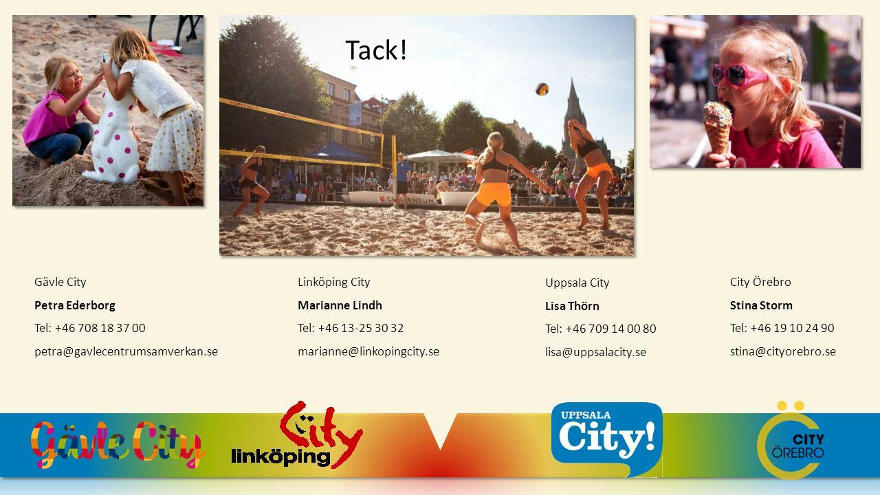 Gävle City Petra Ederborg Tel: +46 708 18 37 00 petra@gavlecentrumsamverkan.se Linköping City Marianne Lindh Tel: +46 13-25 30 32 marianne@linkopingci