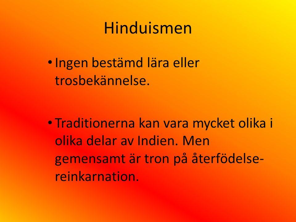 Hinduismen Ingen bestämd lära eller trosbekännelse. Traditionerna kan vara mycket olika i olika delar av Indien. Men gemensamt är tron på återfödelse-