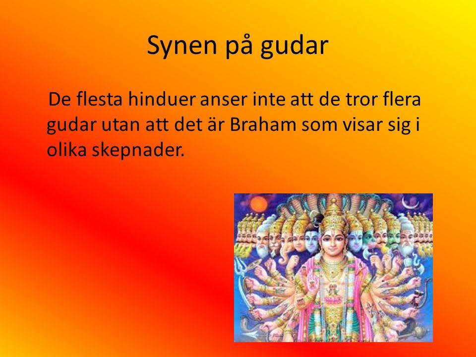 Synen på gudar De flesta hinduer anser inte att de tror flera gudar utan att det är Braham som visar sig i olika skepnader.