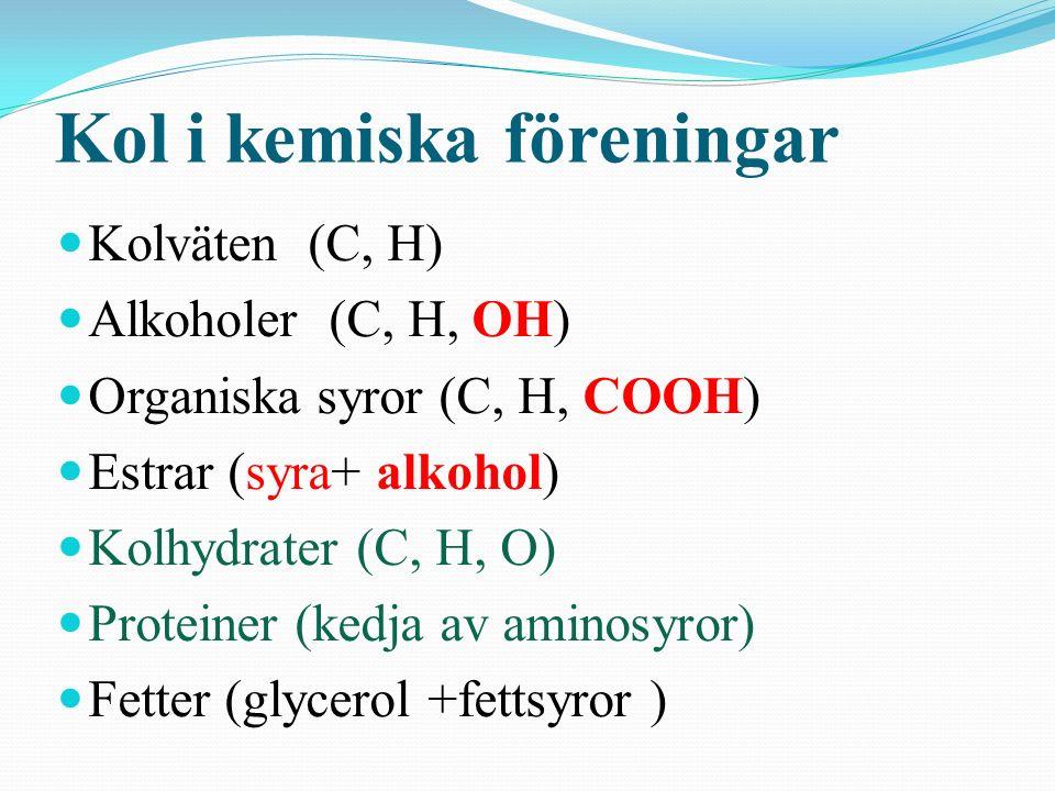 Kolkedjor Gasol, bensin, diesel, parafin med fl. Metanol, etanol, glykol, glycerol m. fl. Karboxylsyror - myrsyra, ättiksyra, citronsyra m.fl. Nitrogl