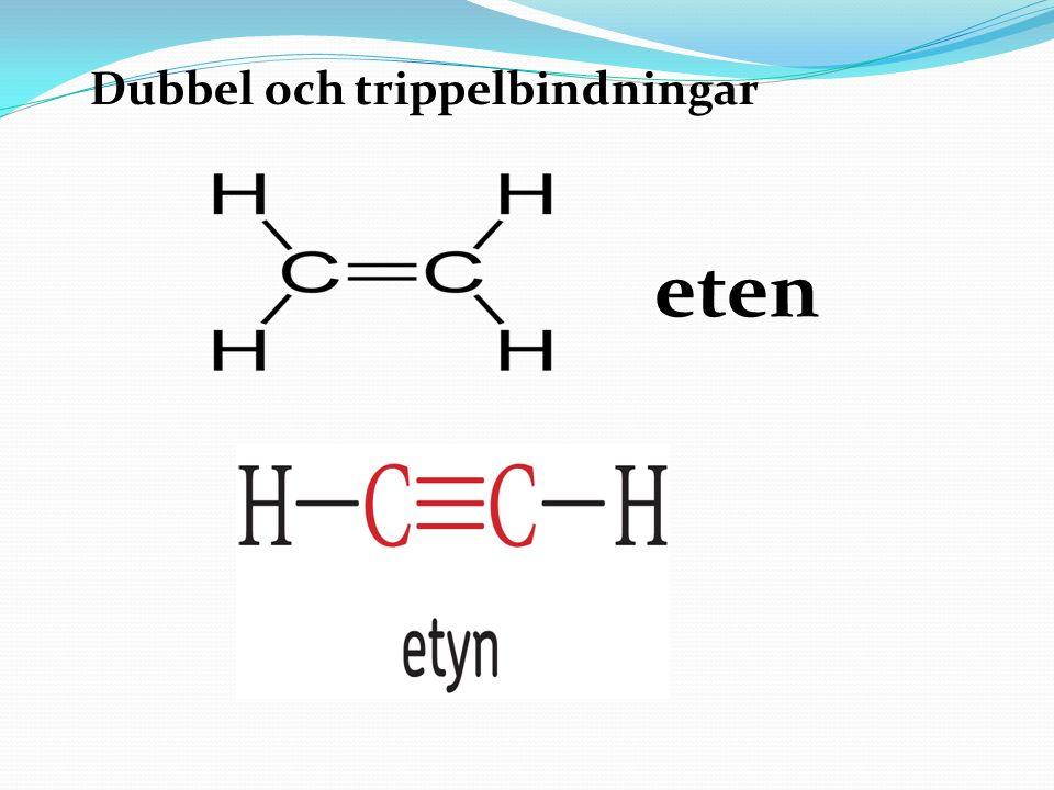 Metanserien 1 kol + 4 väteMetan 2 kol + 6 väteEtan 3 kol + 8 vätePropan 4 kol + 10 väteButan 5 kol + 12 vätePentan Vid förbränning av kolväten bildas