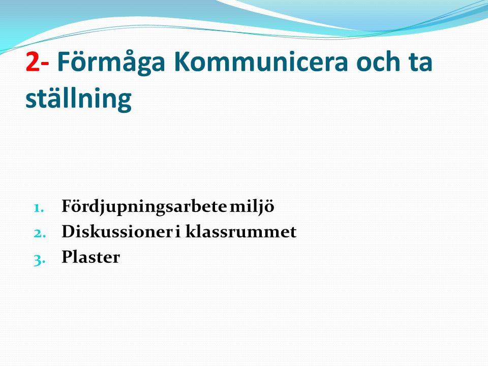 2- Förmåga Kommunicera och ta ställning 1.Fördjupningsarbete miljö 2.