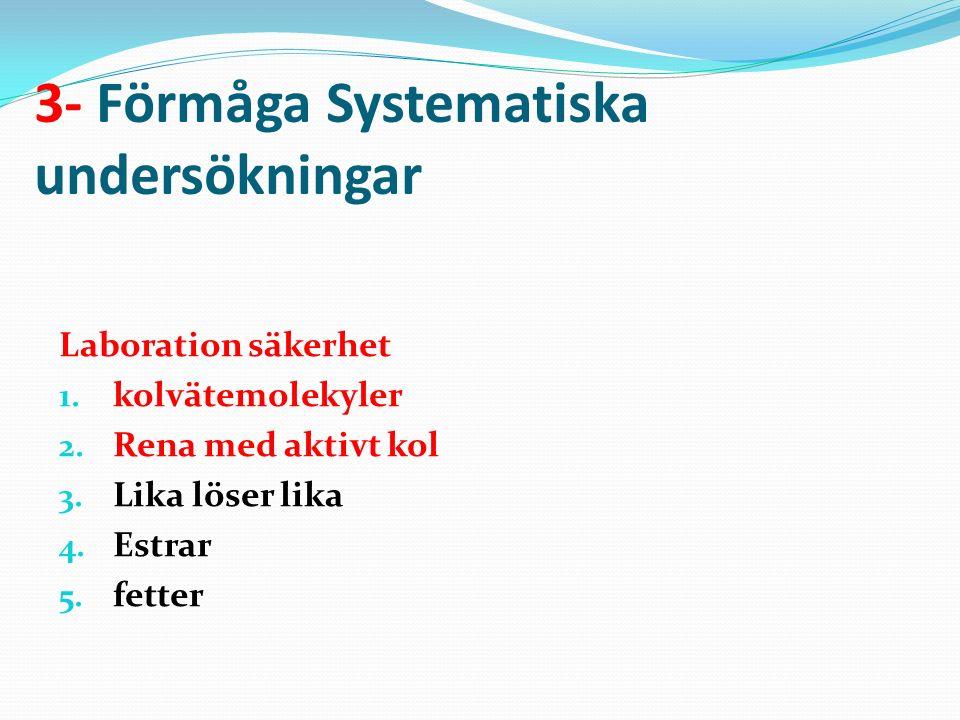 3- Förmåga Systematiska undersökningar Laboration säkerhet 1.