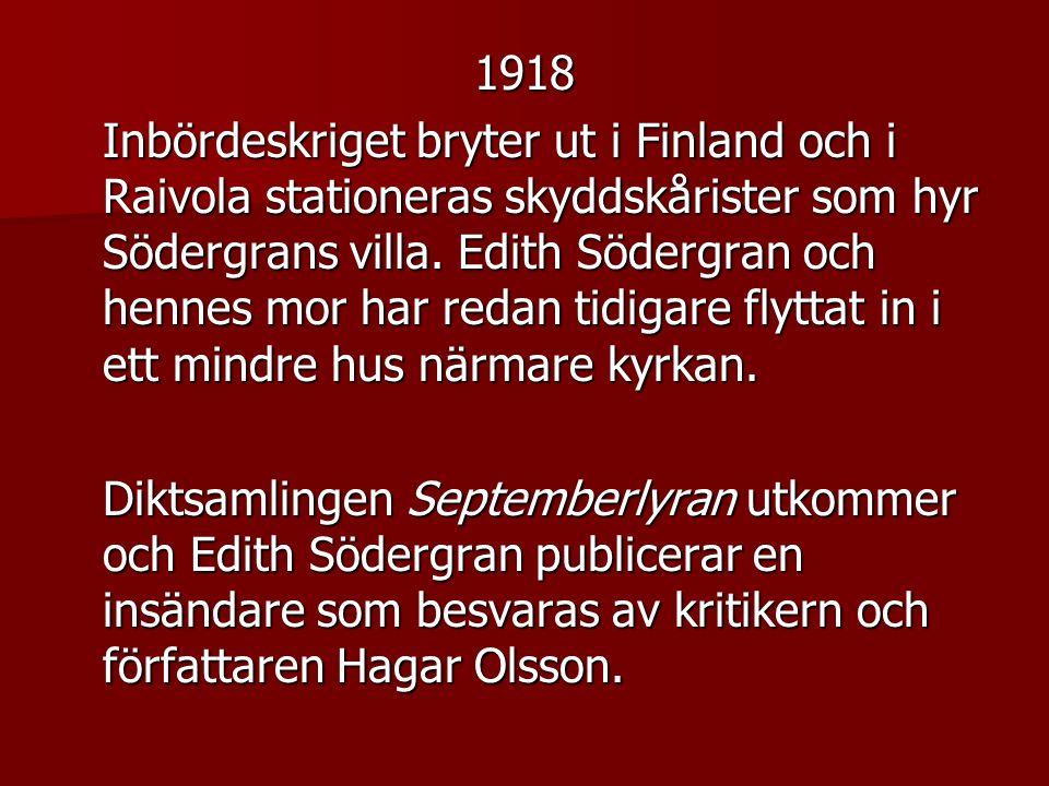 1918 Inbördeskriget bryter ut i Finland och i Raivola stationeras skyddskårister som hyr Södergrans villa.