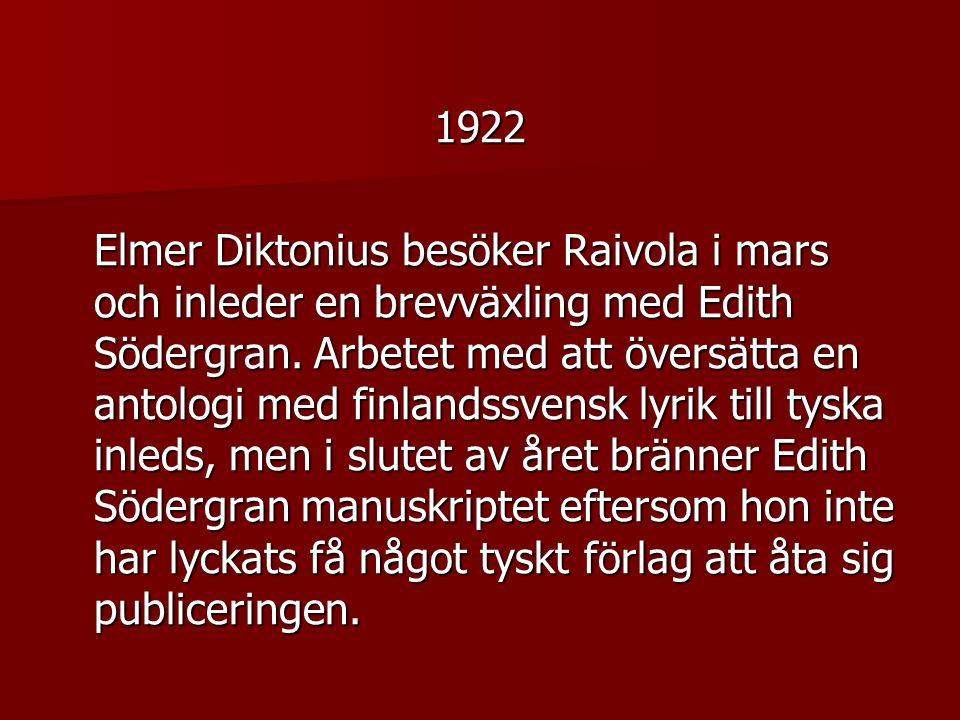 1922 Elmer Diktonius besöker Raivola i mars och inleder en brevväxling med Edith Södergran.