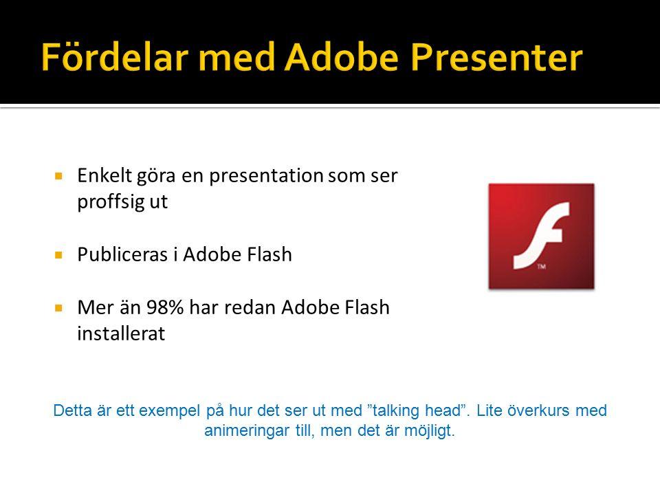  Enkelt göra en presentation som ser proffsig ut  Publiceras i Adobe Flash  Mer än 98% har redan Adobe Flash installerat Detta är ett exempel på hur det ser ut med talking head .