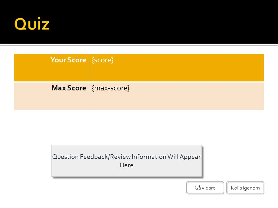 Question Feedback/Review Information Will Appear Here Kolla igenomGå vidare Your Score{score} Max Score{max-score}