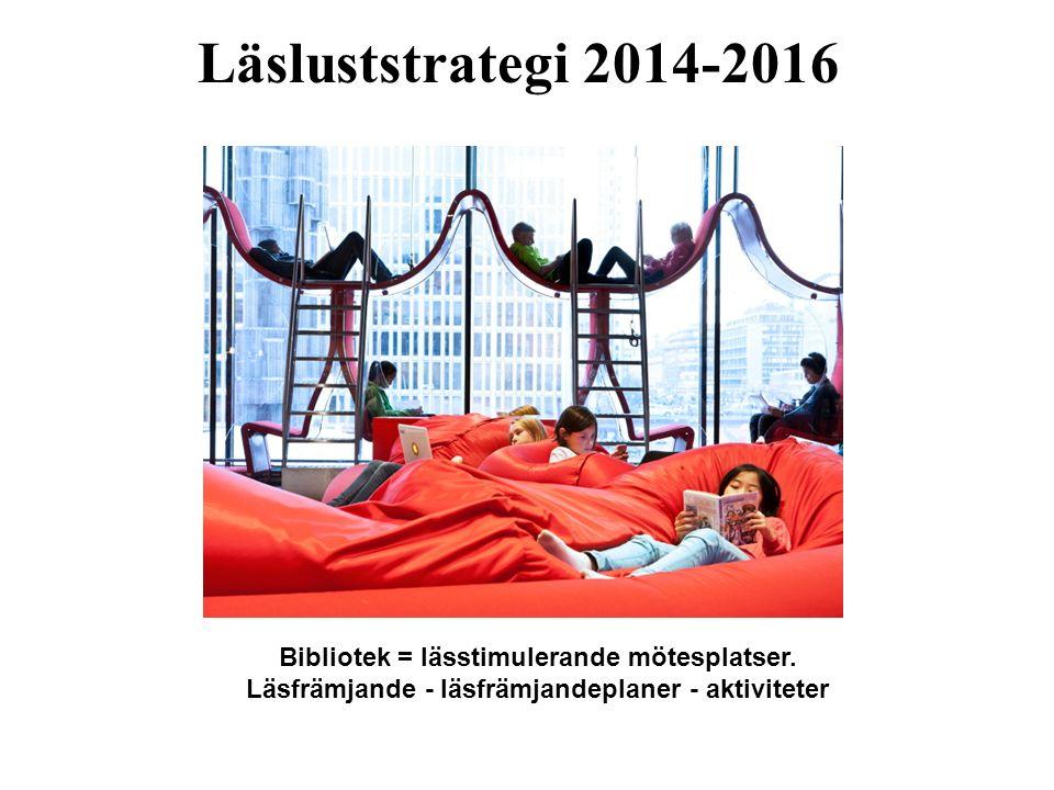 Läsluststrategi 2014-2016 Bibliotek = lässtimulerande mötesplatser. Läsfrämjande - läsfrämjandeplaner - aktiviteter