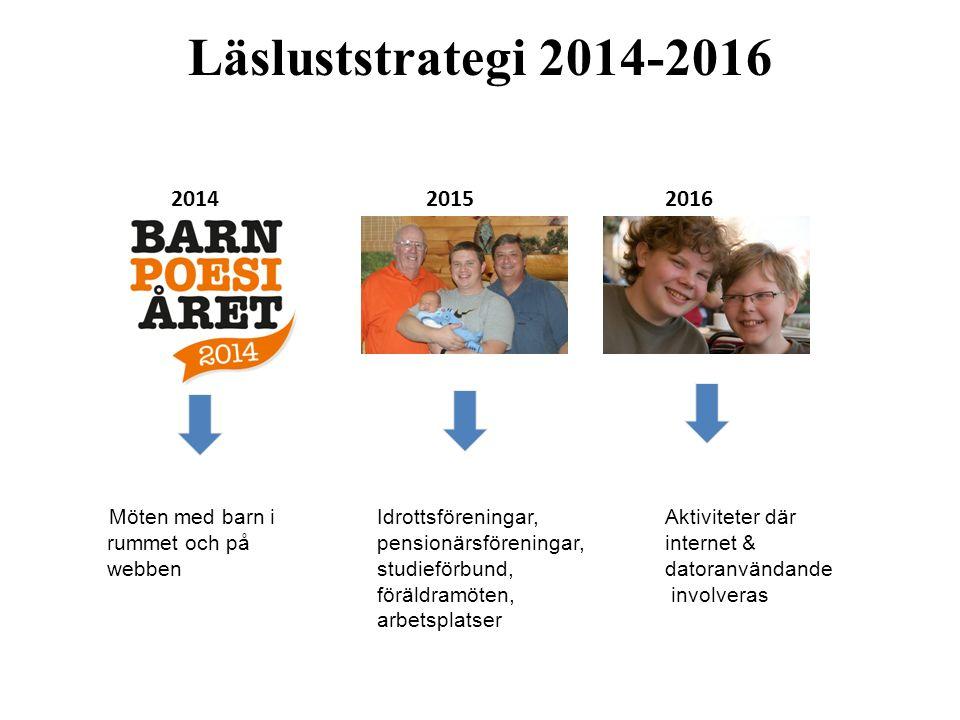 Läsluststrategi 2014-2016 2014 20152016 Möten med barn iIdrottsföreningar,Aktiviteter där rummet och påpensionärsföreningar,internet & webbenstudieför