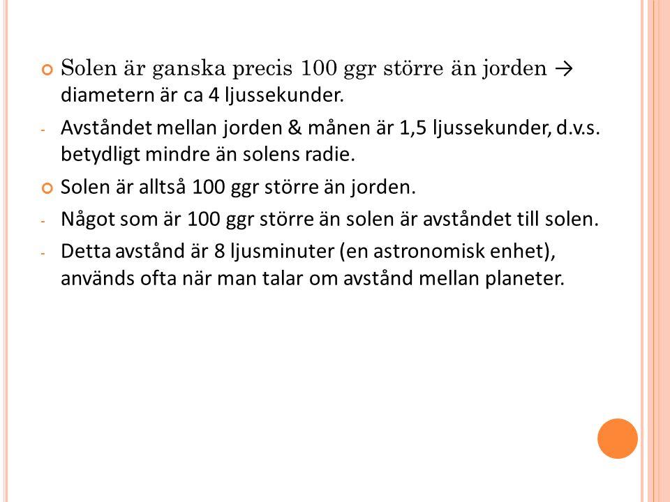 Solen är ganska precis 100 ggr större än jorden → diametern är ca 4 ljussekunder. - Avståndet mellan jorden & månen är 1,5 ljussekunder, d.v.s. betydl