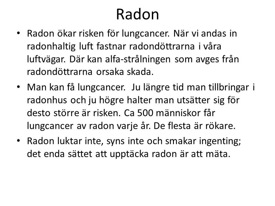 Radon Radon ökar risken för lungcancer.