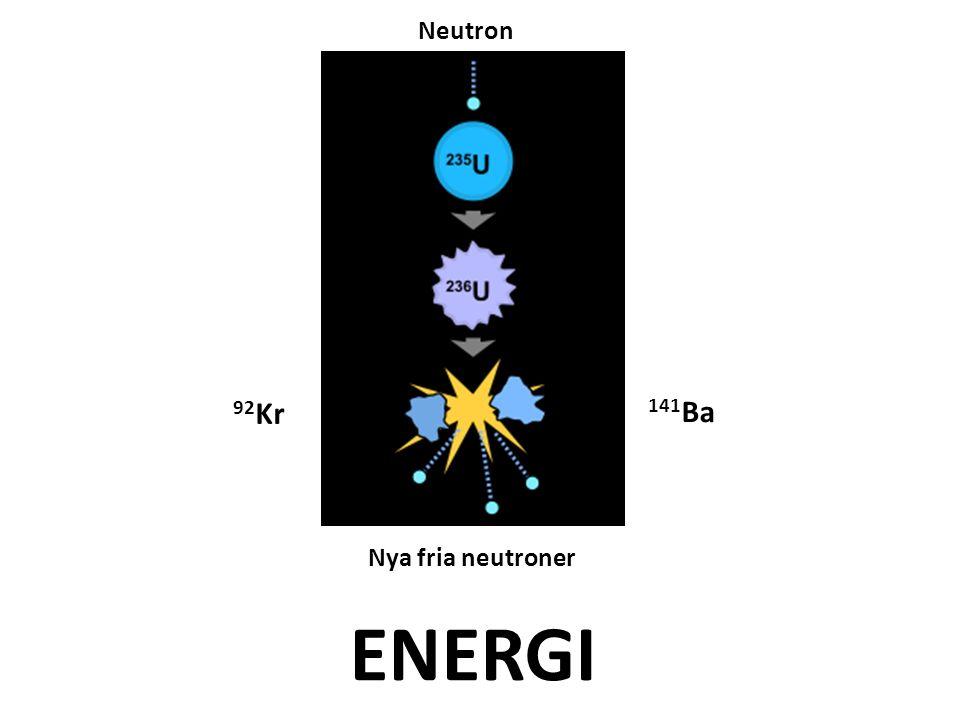 141 Ba 92 Kr Neutron Nya fria neutroner ENERGI