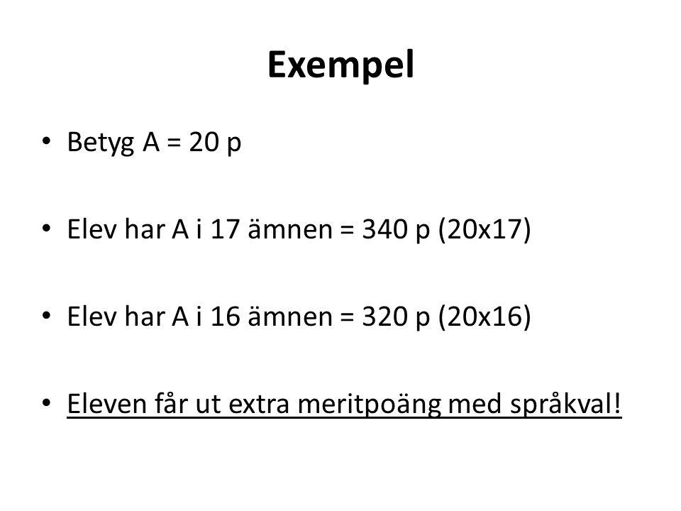 Exempel Betyg A = 20 p Elev har A i 17 ämnen = 340 p (20x17) Elev har A i 16 ämnen = 320 p (20x16) Eleven får ut extra meritpoäng med språkval!