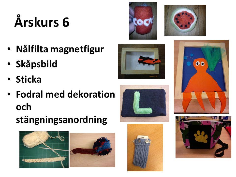 Årskurs 6 Nålfilta magnetfigur Skåpsbild Sticka Fodral med dekoration och stängningsanordning