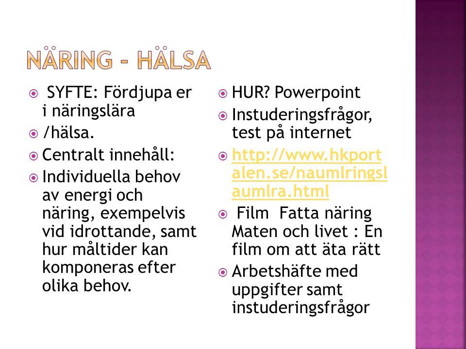  SYFTE: Fördjupa er i näringslära  /hälsa.  Centralt innehåll:  Individuella behov av energi och näring, exempelvis vid idrottande, samt hur målti