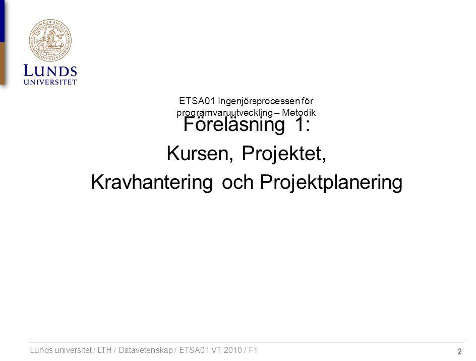 2 ETSA01 Ingenjörsprocessen för programvaruutveckling – Metodik Lunds universitet / LTH / Datavetenskap / ETSA01 VT 2010 / F1 Föreläsning 1: Kursen, P