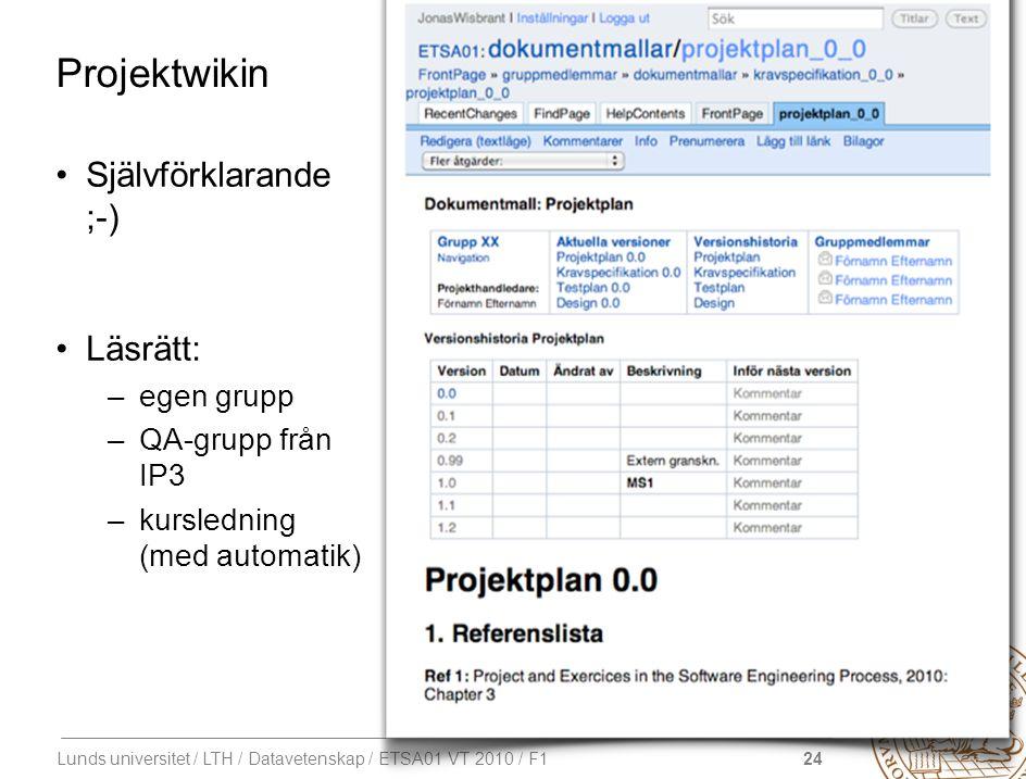 24 Lunds universitet / LTH / Datavetenskap / ETSA01 VT 2010 / F1 Projektwikin Självförklarande ;-) Läsrätt: –egen grupp –QA-grupp från IP3 –kurslednin