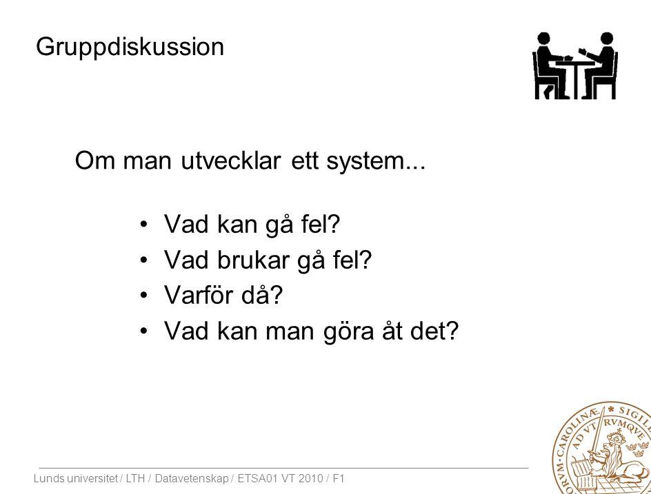 Lunds universitet / LTH / Datavetenskap / ETSA01 VT 2010 / F1 Gruppdiskussion Vad kan gå fel? Vad brukar gå fel? Varför då? Vad kan man göra åt det? O