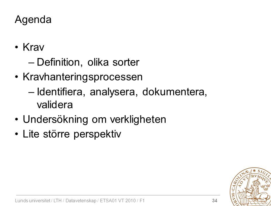 34 Lunds universitet / LTH / Datavetenskap / ETSA01 VT 2010 / F1 Agenda Krav –Definition, olika sorter Kravhanteringsprocessen –Identifiera, analysera